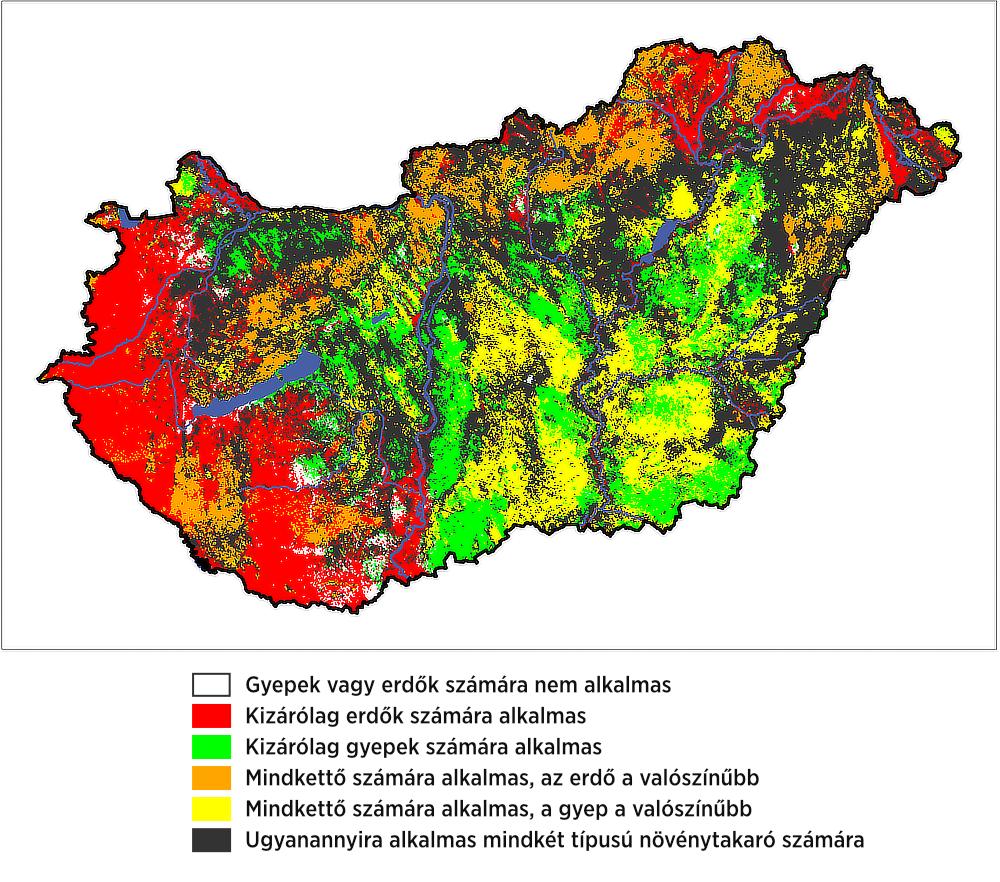 Egy példa a modellezés eredményeiből: a gyepek, illetve az erdők lehetséges elterjedési területe Magyarországon