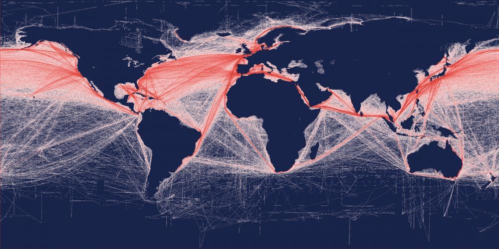 Térkép a hajózási útvonalakról, a tengeri áruszállítás relatív gyakoriságáról (skála: 1 km, 2010. márciusi adatok). A térképet a spatial-analyst.net szakértői készítették