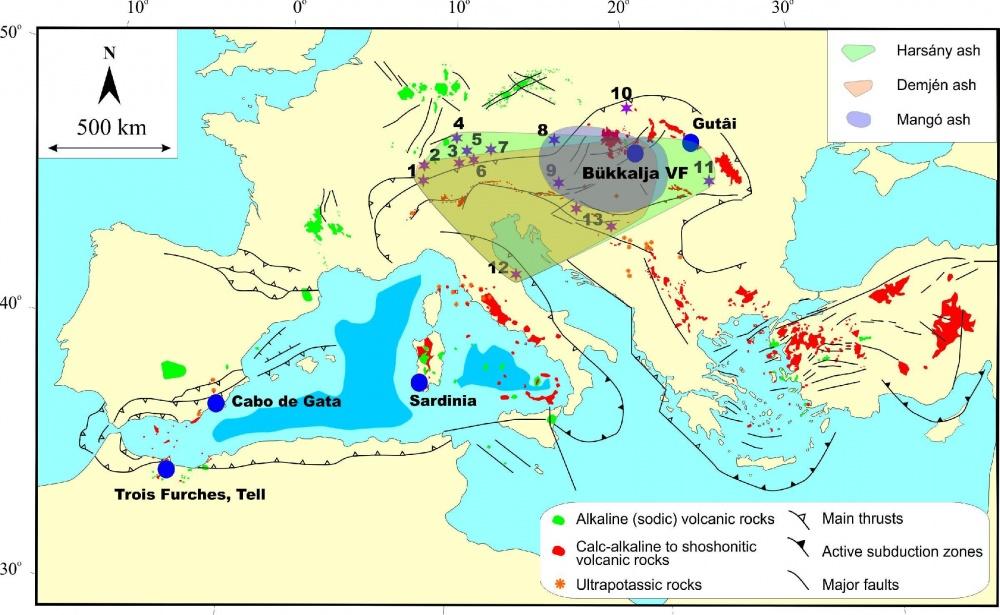 Lukács Réka és munkatársai új eredményei szerint a 14,4 és 18,2 millió évvel ezelőtti időszakban legalább három olyan nagy vulkánkitörés történt a Kárpát-medencében, amelynek vulkáni hamuanyaga több mint 1000 km távolságba jutott, és amelyek vulkáni üvegs