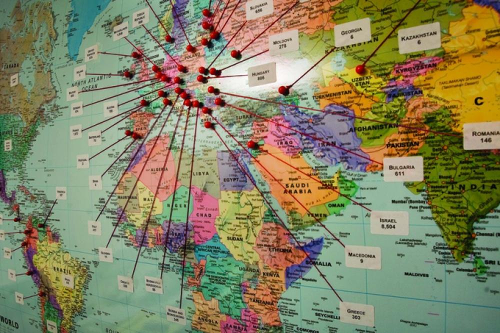 Térkép a USC Soá Alapítvány – Vizuális Történelmi és Oktatási Intézet által gondozott életút-interjúk felvételének helyszíneiről