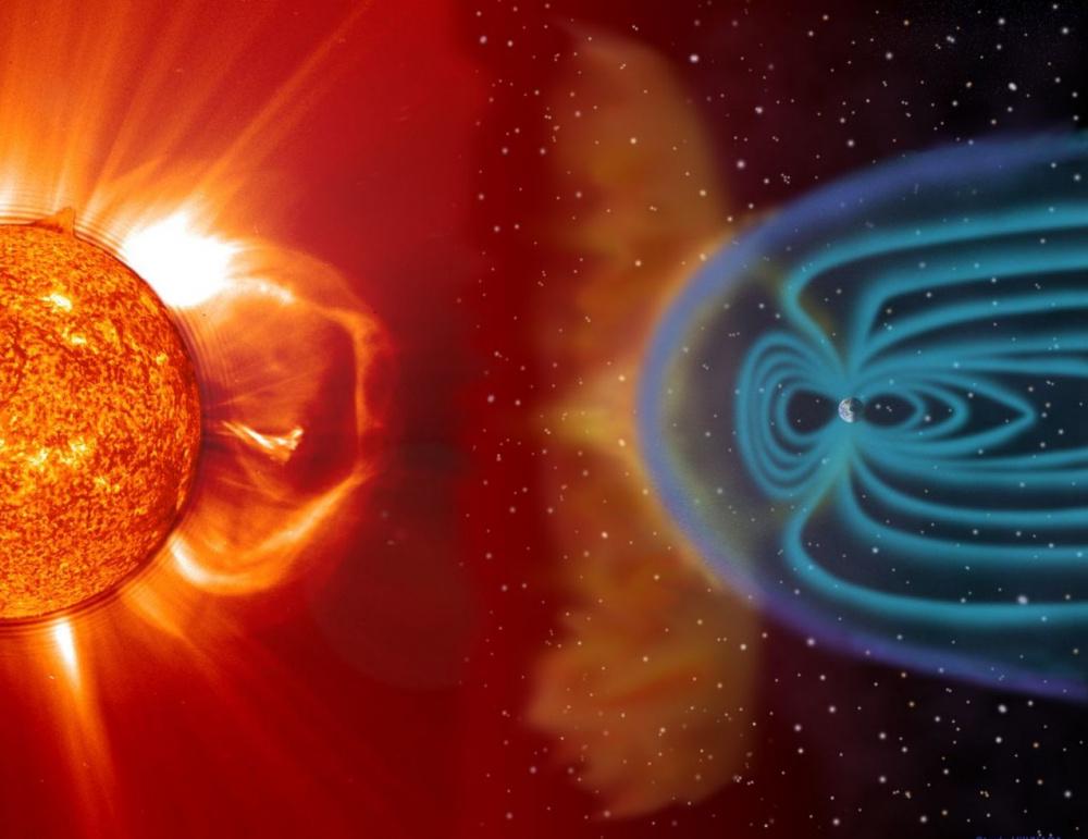 Koronakidobódás és a Föld mágneses terének kölcsönhatása nem méretarányos ábrázolásban