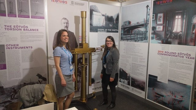 The two exhibitors: Csenge Czanik and Veronika Barta (MTA CSFK Geodetic and Geophysical Institute)