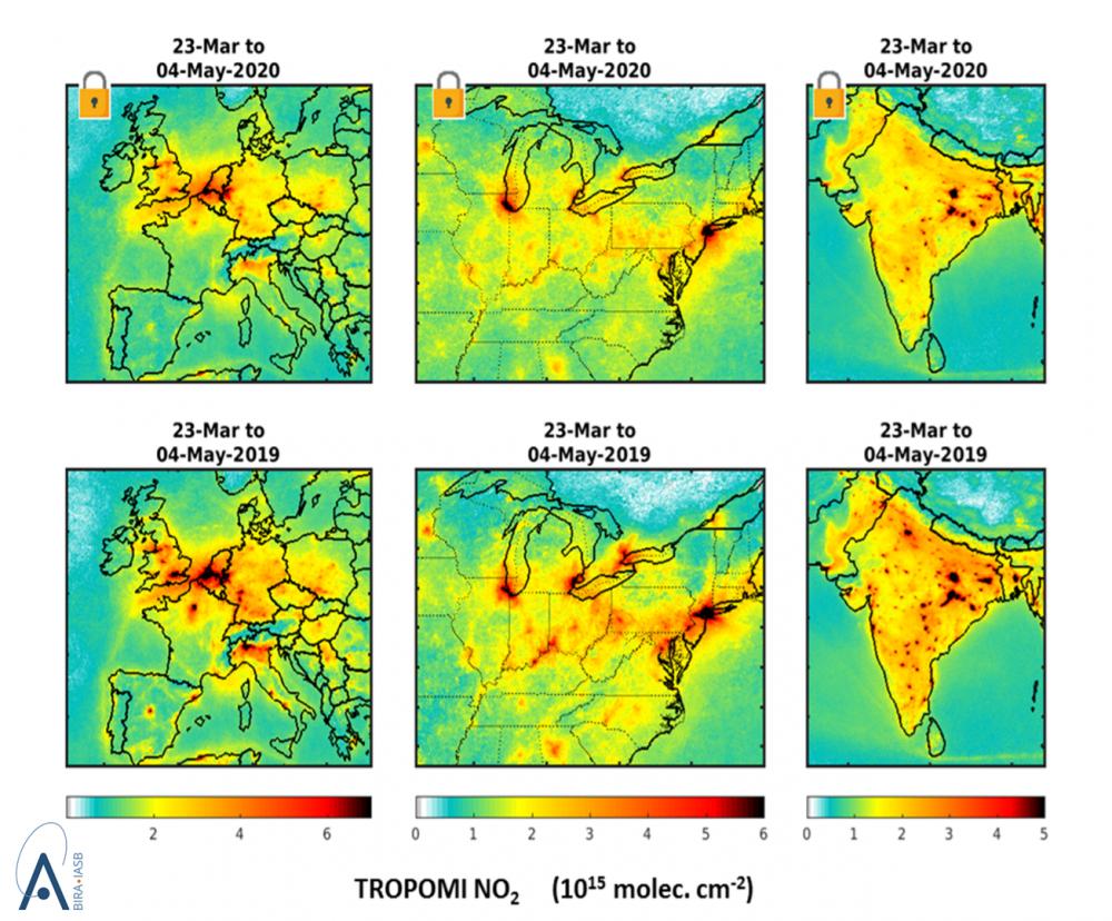 Friss műholdas mérési adatok a nitrogén-dioxid koncentrációjáról a 2019-es megfigyelésekkel összevetve Európáról, az USA keleti államairól és Indiáról. Az adatokat átlagolták az ábrán megadott időszakra vonatkozóan