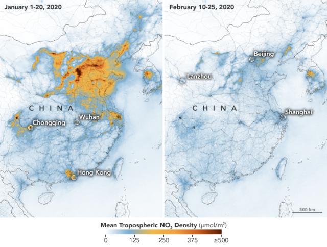 NO2-légszennyezés Kínában január 1–20. és február 10–25. között. Az adatokat az Európai Űrügynökség, az ESA Copernicus Sentinel–5 műholdjának TROPOMI mérőberendezése (Tropospheric Monitoring Instrument) szolgáltatta. A NASA Aura műholdjának OMI berendezés