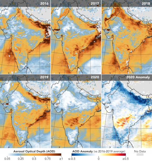 A térképeken az látható, hogy mennyire volt aeoroszollal szennyezett a levegő India fölött a korábbi években március 31. és április 5. között, továbbá az utolsó térképen az, hogy mekkora az eltérés a 2020-as időszakban a korábbi évek átlagához képest (vag