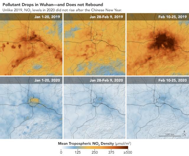 Jelentősen csökkent a szennyezés Vuhan fölött, és nem is emelkedett vissza a holdújév után sem